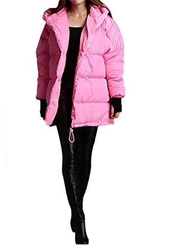 Type Overcoat Pink Keep Cotton Windproof Loose Hood Jacket Coat Thickening Women's Ladies Winter Short Outwear Down 7wFYUA