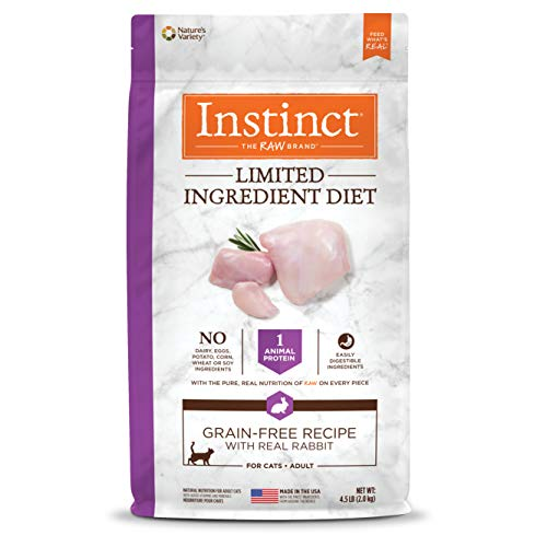 Instinct Limited Ingredient Diet Grain Free Recipe with Real Rabbit Natural Dry Cat Food by Nature's Variety, 4.5 lb. - Cat Grain Free Rabbit Food