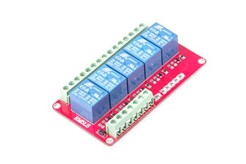 Indicator 10a - 12V 5-Channel 10A Relay Control Module Low Level Trigger with Red and Blue Indicators for Arduino