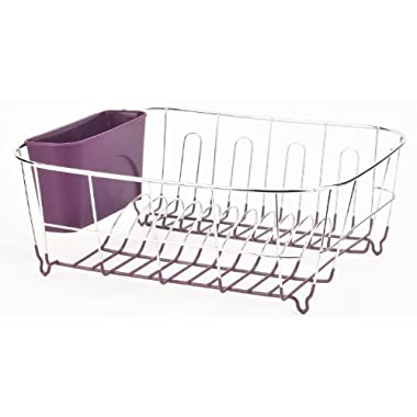 Deluxe Chrome-plated Steel Small Dish Drainers (Purple)