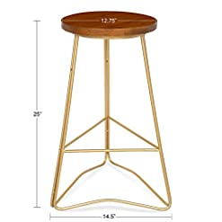 Kitchen Kate and Laurel Godwin Midcentury Modern Backless Counter-Height Bar Stool, Gold Metal Base with Walnut Finish Seat modern barstools