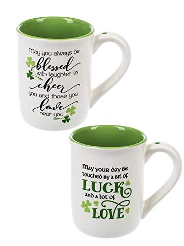 - Irish Blessings Green Shamrocks 12 Ounce Ceramic Coffee Mugs Assorted Set of 2
