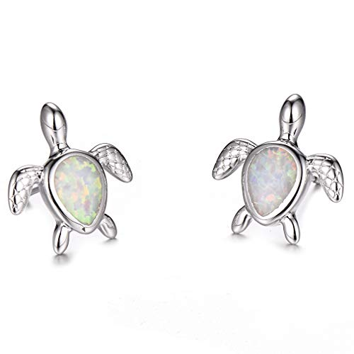 Health and Longevity Sea Turtle Birthstone Jewelry Sterling Silver Created Blue Opal Sea Turtle Earring Rings Pendant Necklace Length 18-20 inch (Earrings -C)