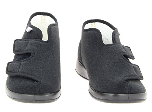 Varomed Genua-F 60920 Unisex-Erwachsene Damen Herren Hausschuhe, Therapieschuhe, Verbandschuhe mit Extra Weichschaumfussbett Schwarz
