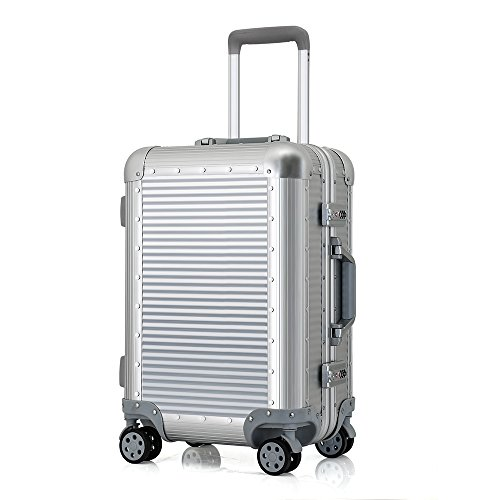 100% Aluminum shell luggage 20'' carry on 24'' checked Hardside luggage suitcase travel trolley suitcase (24 inch, Silver) by qilv