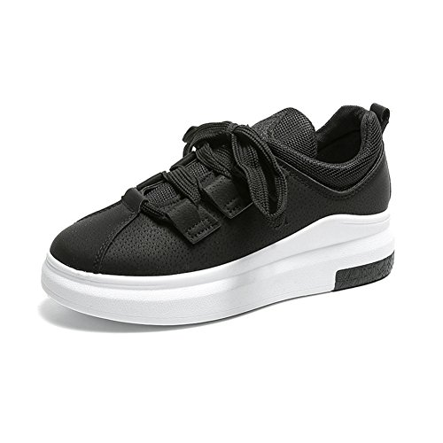 Cybling Womens Fashion Casual Sneakers Flat Outdoor Walking Sportschoenen Zwart