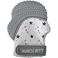 Munch Mitt Pastels Specialty Collection- Original Silicone Teether Mitten- Like Teething Toys or Teething Ring Provides Self-Soothing Fun- Ideal with Handy Travel Bag - Grey Stars