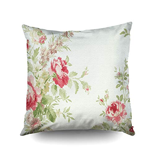Capsceoll Christmas Floral Print Pink Flowers Decorative Throw Pillow Case 18X18Inch,Home Decoration Pillowcase Zippered Pillow Covers Cushion Cover with Words for Book Lover Worm Sofa - Toile Pink Gingham Green
