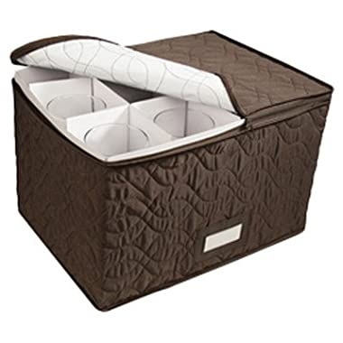 Richards Homewares Micro Fiber Stemware Chest - Brown, 11.5  x 15.5  x 10