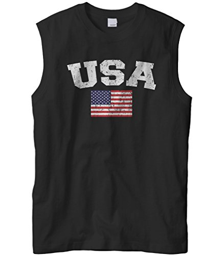 (Cybertela Men's Faded Distressed USA Flag Sleeveless T-Shirt (Black, X-Large))