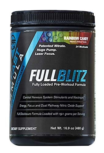 FULLBLITZ by Build Fast Formula | Fully Loaded Pre Workout | Energy Booster plus Nootropic Blend | Nitric Oxide Boosting Supplement for Increased Energy, Focus, and Muscle Pump (Rainbow Candy) (Nitric Oxide Activator)