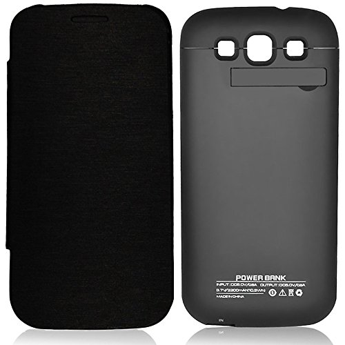 Zeox Samsung Galaxy S3 Rechargeable External Backup Battery Case 3200 mAh Power Built in Battery With Media Kick Stand For Samsung Galaxy S3 i9300 - Flip Black (More Juice To Boost S3 Power) (S3 Case Rechargeable Galaxy)