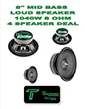 (4) Timpano TPT-MD8 Full Range Mid Bass Loud Speaker 8'' 8 Ohm (1140W Peak) 2 Pair
