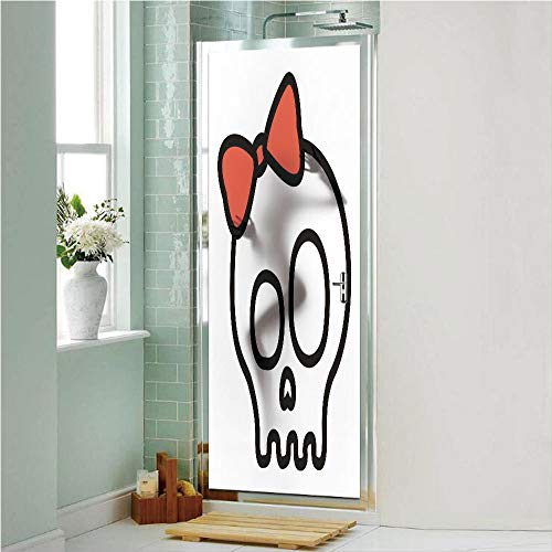 Skull 3D No Glue Static Decorative Privacy Window Films, Illustration of Baby Skull Girl with Lace and Halloween Dead Head Teen Emo Art,17.7