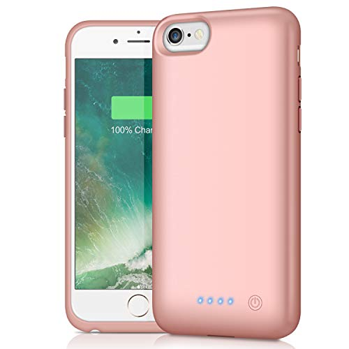 Battery Case for iPhone 6S 6,Upgraded HETP 6000mAh Rechargeable Charging Case for iPhone 6 External Battery Pack iPhone 6S Charger Cover Apple Portable Power Bank [4.7 inch]-Rose Gold