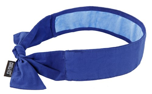 Ergodyne Chill-Its 6700CT Evaporative Cooling Bandana - Tie Closure, Solid Blue