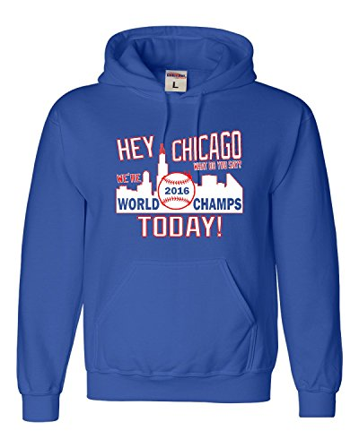 Go All Out Screenprinting Large Royal Blue Adult Hey Chicago We're World Champs Today Sweatshirt Hoodie Chicago Cubs Shop