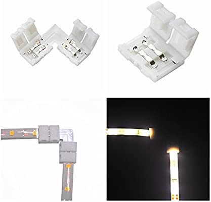 """Shape/"""" 2P clips 8mm Angle Corner No Welding Connector for 3528 Led Strip 5x /"""""""