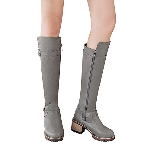 PU Boots Western Winter Chunky Leather Jamron Grey Women's Zip Warm Riding Knee High Block Boots Heel Lining wgqwXpx