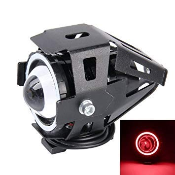 Uniqus U7 10W 1000LM CREE LED Life Waterproof Headlamp Light with Angel Eyes Light for Motorcycle SUV, DC 12V(Red Light)