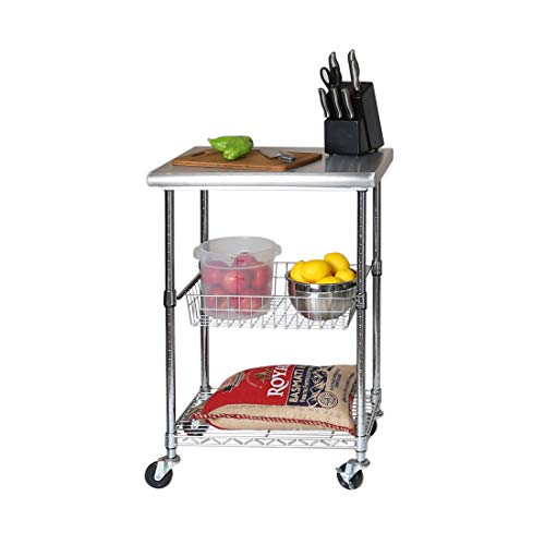 "Seville Classics Stainless-Steel NSF-Certified Professional Kitchen Work Table Cart, 24"" W x 20"" D x 36"" H, x x from Seville Classics"