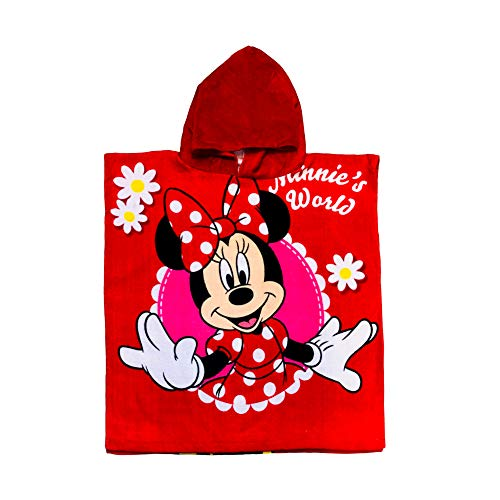 MinnieMouse Disney red Dress with Polka dot and Flowers It's All About Minnie Hooded Poncho Girls Towel]()