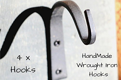 Wrought Iron Hooks Wrought Hooks Hanger Wrought Iron hooks for Lantern Wrought Iron Hooks for Coat Wrought Iron Hooks Rustic Wrought Iron Hooks for Hanging Wrought Iron Hooks Vintage 4-Hooks!