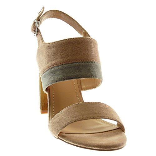 Cheville CM Chaussure Talon Haut Bois Femme Mode Bicolore 10 Rose Sandale Lanière Escarpin Angkorly Bloc wg1qZSw