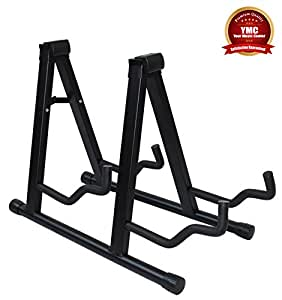ymc universal folding double guitar stand with secure lock for acoustic and. Black Bedroom Furniture Sets. Home Design Ideas