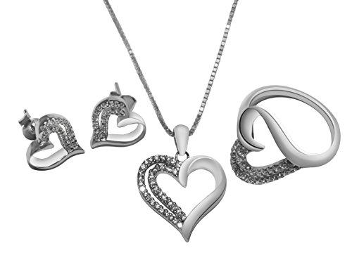 Womens Matchin Heart Jewelry Set