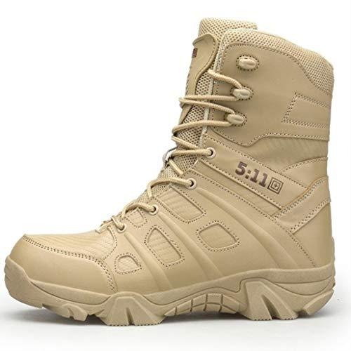 MaQoms Boots Waterproof Hiking Combat Boots Toe Side Zip Work Boots Sand US 10