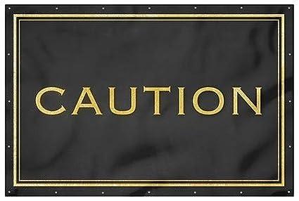 Caution 12x8 CGSignLab Classic Gold Heavy-Duty Outdoor Vinyl Banner