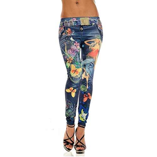 Largos Imprimir Pantalones Vaqueros Acogedor Con Mujer De Huixin Elásticos Blau Cintura Flaco Profunda Lápiz Stretch Estiramiento B4qfzIn