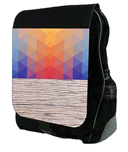 Prism Colorblock and Wood Print Design TM School Backpack