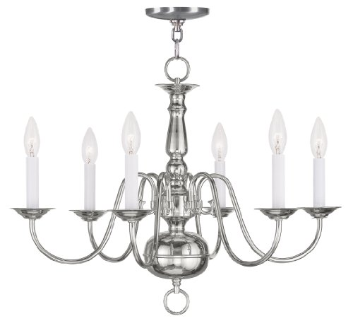 Livex Lighting 5006-35 Williamsburg 6-Light Chandelier, Polished Nickel (Colonial Silver Five Light Chandelier)