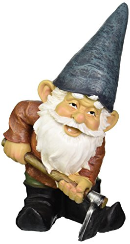 Design Toscano Garden Gnome Statue - Bulldoze the Dirty Hoe - Outdoor Garden Gnomes - Funny Lawn Gnome Statues