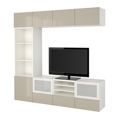 Ikea TV storage combination with push-open drawers and glass doors, white, Selsviken high gloss/beige frosted glass 16202.261726.1822