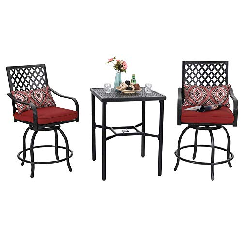 PHI VILLA Bistro Set Outdoor Bar Height Swivel 2 Patio Chairs and 1 Metal Top Table,Seat Cushions and Adjust Screw -
