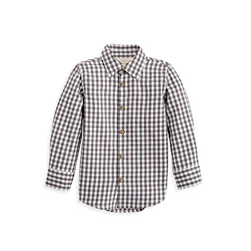 Hundreds Plaid Button - Burt's Bees Baby Baby Boy's Toddler Long Sleeve Button-up Plaid Shirts, 100% Organic Cotton, Slate Gingham-Up, 6 Years