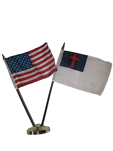 ALBATROS USA American with Christ Christian Flag 4 inch x 6 inch Desk Set Table Stick with Gold Base for Home and Parades, Official Party, All Weather Indoors -
