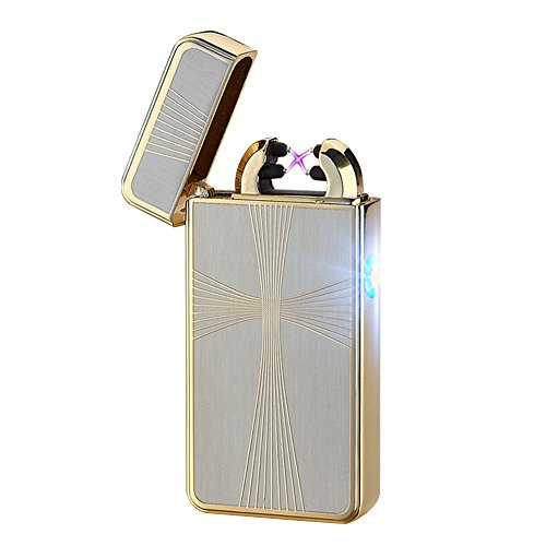 Cideros USB Rechargeable Double Electronic Pulse Arc Cigarette Lighter Windproof Flameless No Gas Cigar Lighter Ignition, Style 12