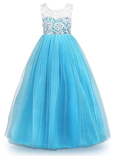 MOREMOO Big Girl Lace Pageant Gowns Bridesmaid Wedding Tulle Party Dress(Light Blue 10-11 Years)]()