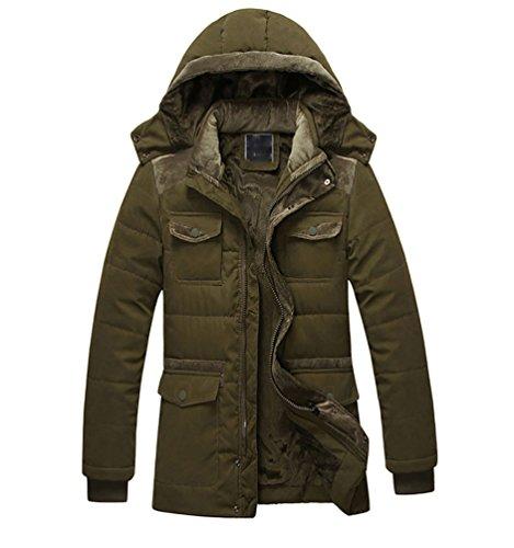 Uomo Cappuccio Giacche Da Baymate Fronte Con Outwear Addensare Caldi Militare Zip Cappotti Verde qz56t6