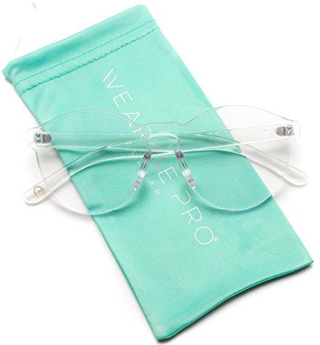 WearMe Pro - Colorful Transparent Round Super Retro Sunglasses (Clear Frame, ()