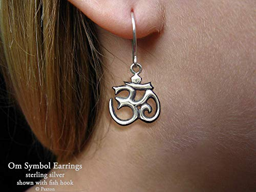 - OM Symbol Earrings in Sterling Silver Hand Carved & Cast in Fish Hook or Post style by Paxton