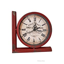 Chef Le Normand Large Distressed French Red 7 Working Clock Book End Bookend