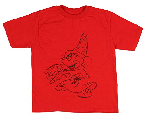Disney Little Boys' Mickey Mouse True Original Fantasia Sorcerers Apprentice Sketch Toddler Kids T-Shirt (4) Red (Mickey Mouse Clubhouse Full Episodes En Espanol)
