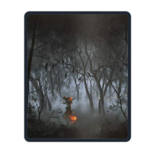 Holiday Halloween Forest Dark Night Child Costume Raven Vintage Art Non-Slip Rubber Mousepad Gaming Mouse Pad Mat