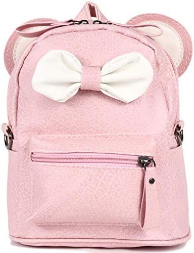 RF Women's PU Leather Backpack Purse Ladies Kawaii Shoulder Bag Waterproof Lightweight Rucksack Travel Daypacks Pink