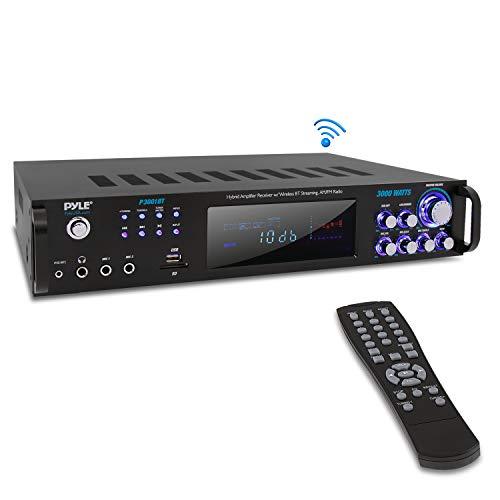 4 Channel Bluetooth Power Amplifier - 3000 Watt Audio Rack Mount Home Speaker Sound Stereo Receiver w/ AM FM Radio, USB, Headphone, RCA, Dual Microphone w/ Echo, LED, Wireless Streaming - Pyle P3001BT